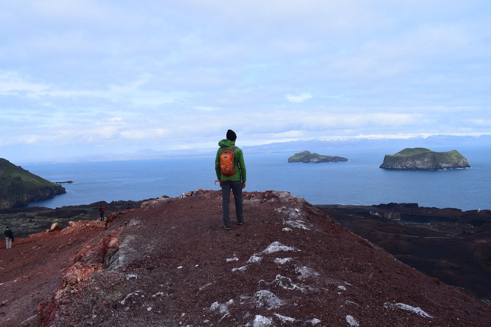Hiking to the top of Eldfell Volcano in Vestmannaeyjar