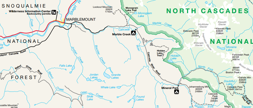 Cascade Pass Trail can be seen in the bottom right-hand corner of the map. Map courtesy of the NPS.