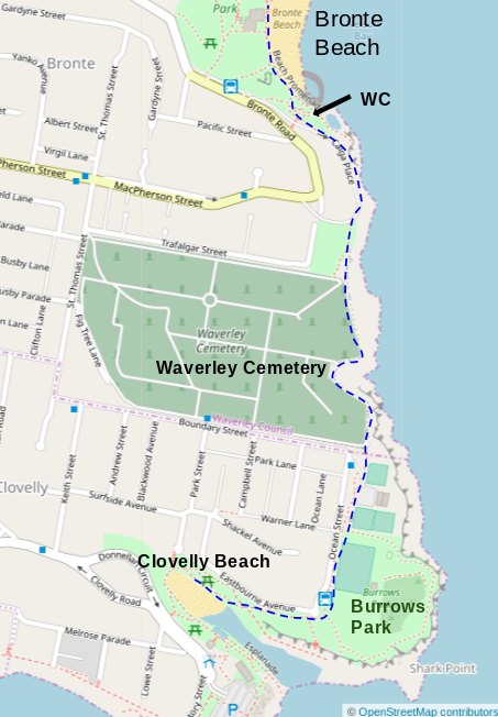 Map of Clovelly Beach to Bronte Beach