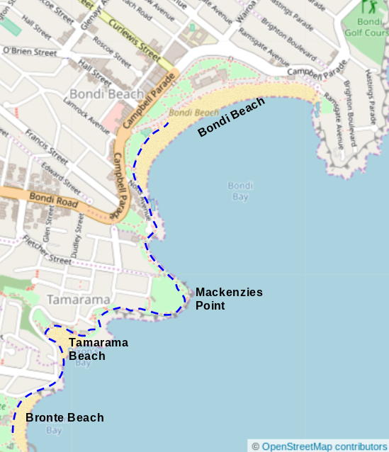 Map of Bronte Beach to Bondi Beach
