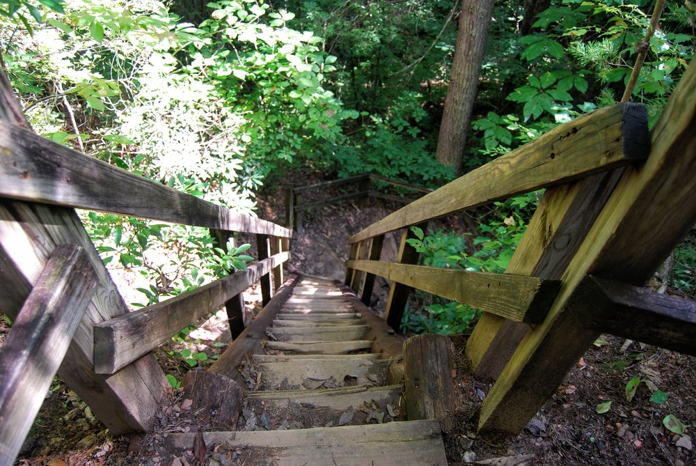 Take the stairs at the first fork. They are steep but sturdy.
