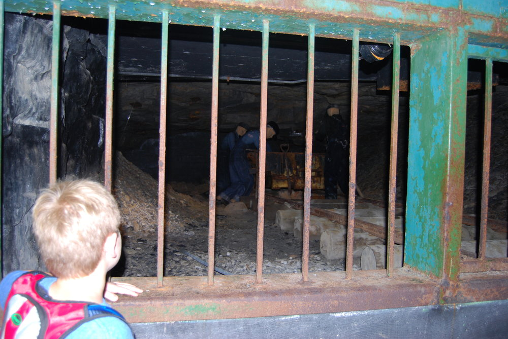 Recreated mining scene inside the mine entrance.