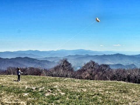 Flying a kite on the top of Huckleberry Knob off the Cherohala Skyway.