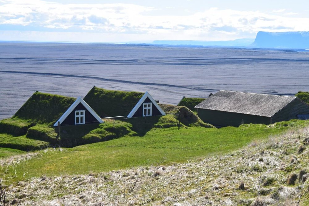 Turf-roofed homes on the Svartifoss-Sjónarsker-Sel Loop Hike
