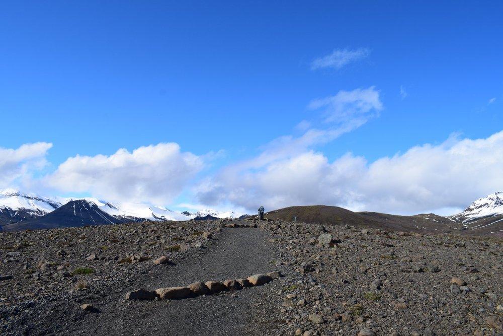 Short trail to peak of  Sjónarsker