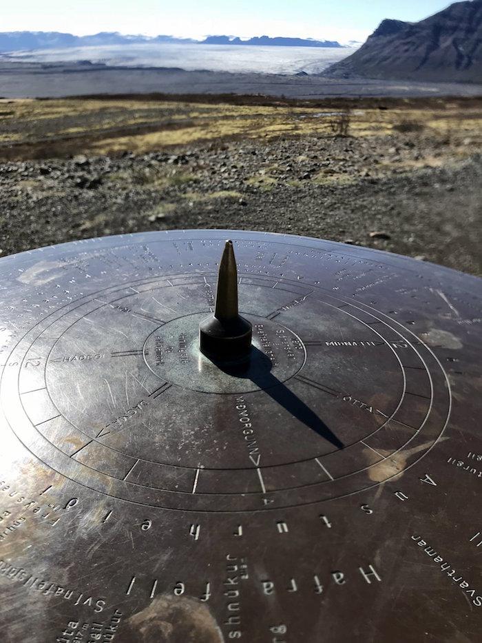 Steel viewing disc at Sjónarsker