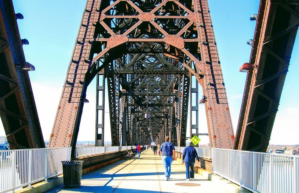 Walking across the Big Four Bridge