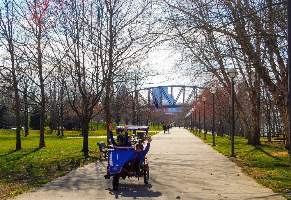Biking along the Riverwalk