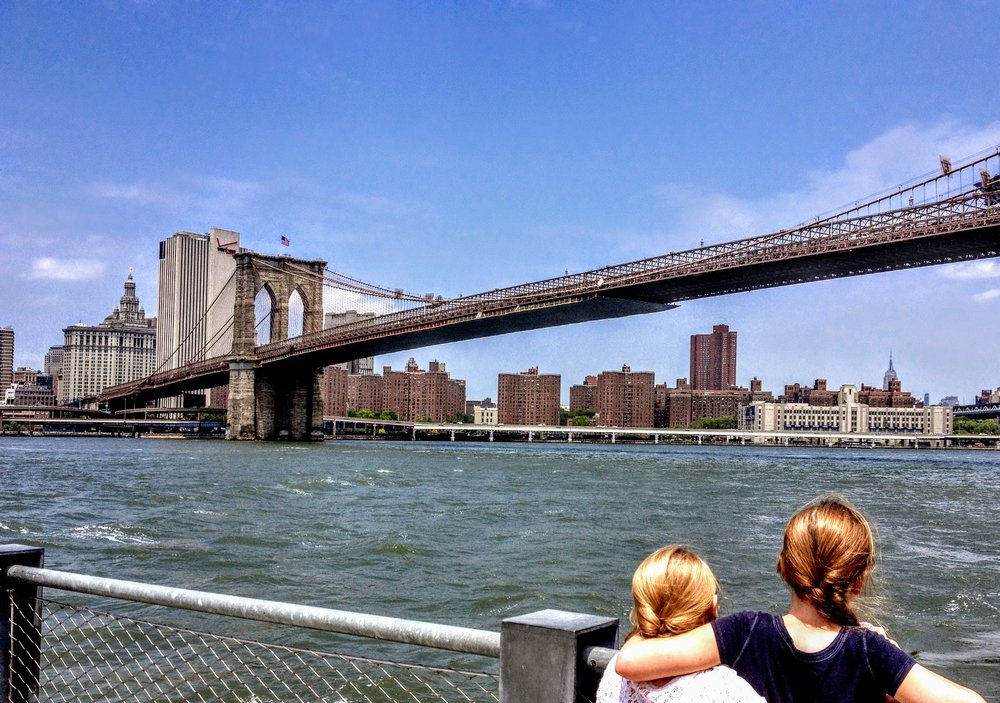 Overlooking the Brooklyn Bridge from Brooklyn Bridge Park in NYC