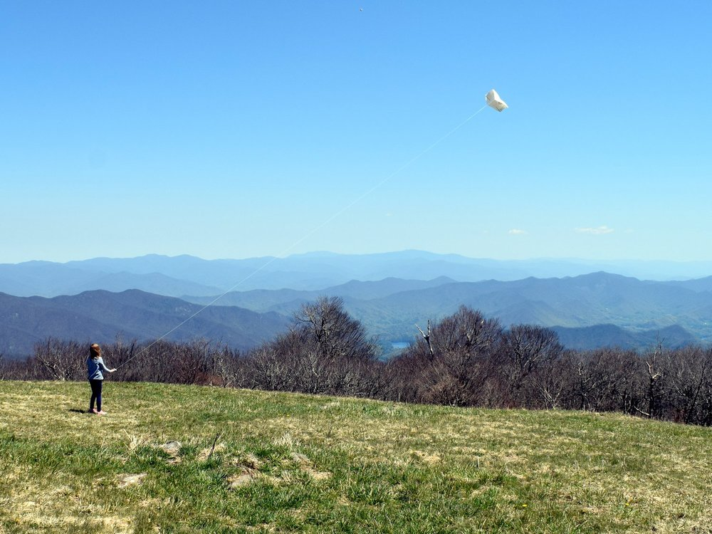 Flying a kite on Huckleberry Knob off the Cherohala Skyway.