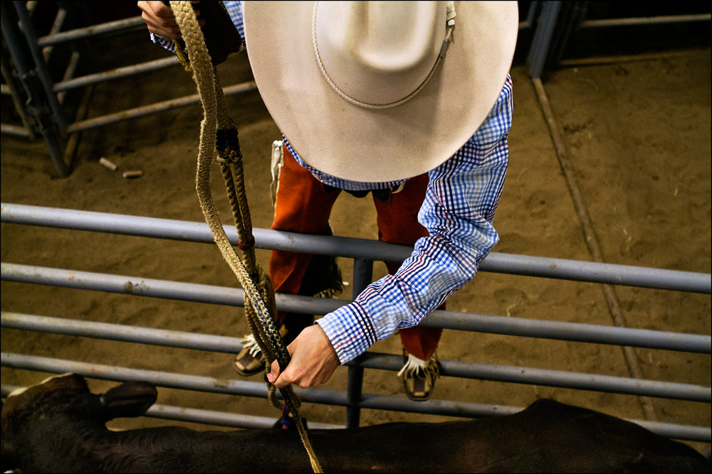 "Coy Hooten of Huntington, Tennessee prepares a bull for the Bull riding competition at the Kentucky High School Rodeo, which was held at the WKU AG Expo Center. ""I just hope I can stay on long enough to qualify,"" said Coy."