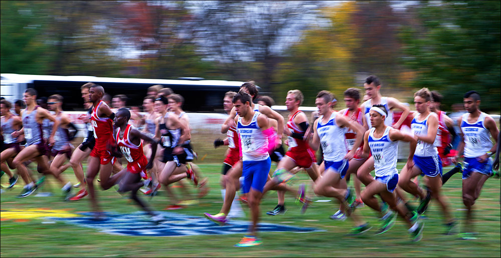 Cross Country runners begin the 8K run at the 2012 Sun Belt Cross Country Championships held at Kereiakes Park in Bowling Green, KY. University of Arkansas-Little Rock finished the race with the least amount of points (58) placing first in the competition.