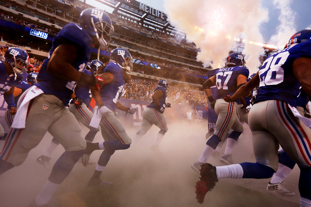 New York Giants enter the field for their NFL football game against the Indianapolis Colts at MetLife Stadium.