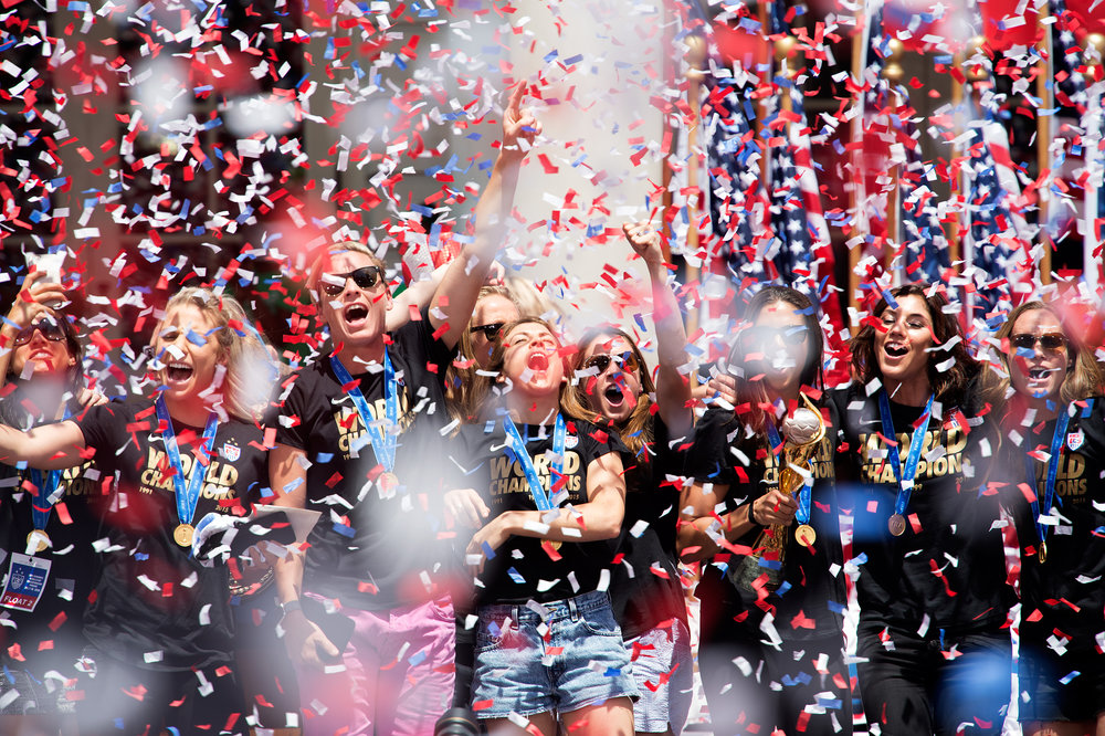The U.S. women's soccer team celebrates its World Cup victory with a ticker tape parade followed by a  Key to the City ceremony from City Hall's Mayor Bill de Blasio in New York City.