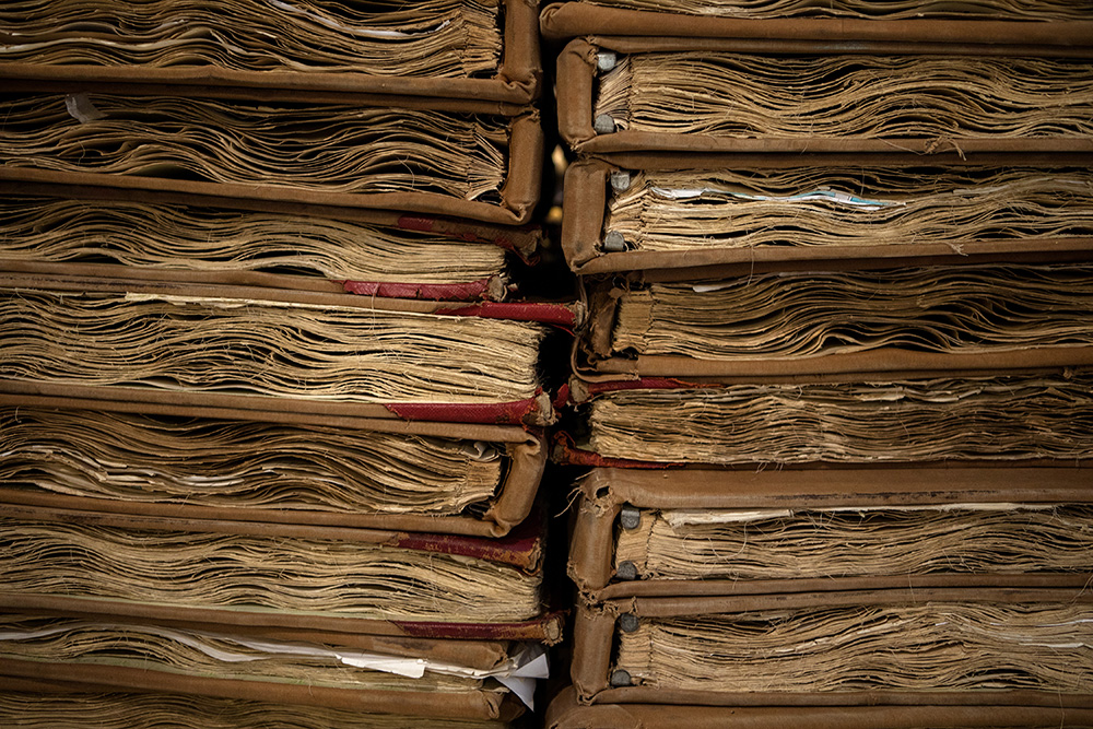 A collection of  NYC records of Land books at the Municipal Archives building. The books contain documentation of land, buildings, and street changes.