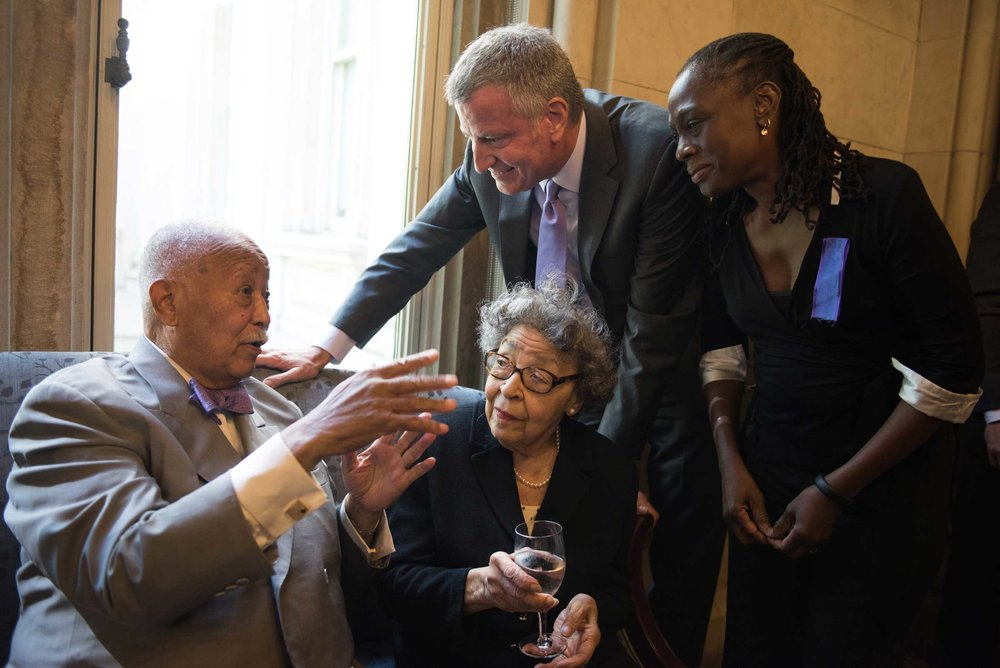 Former Mayor of New York City David Dinkins and his wife Joyce Dinkins. Tweed Building. New York City.