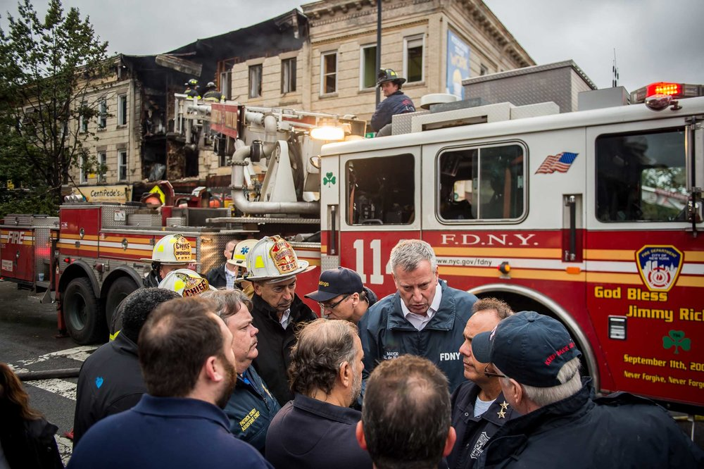 Working 24/7. Mayor at a gas explosion at a three-story building in the Borough Park section of Brooklyn.