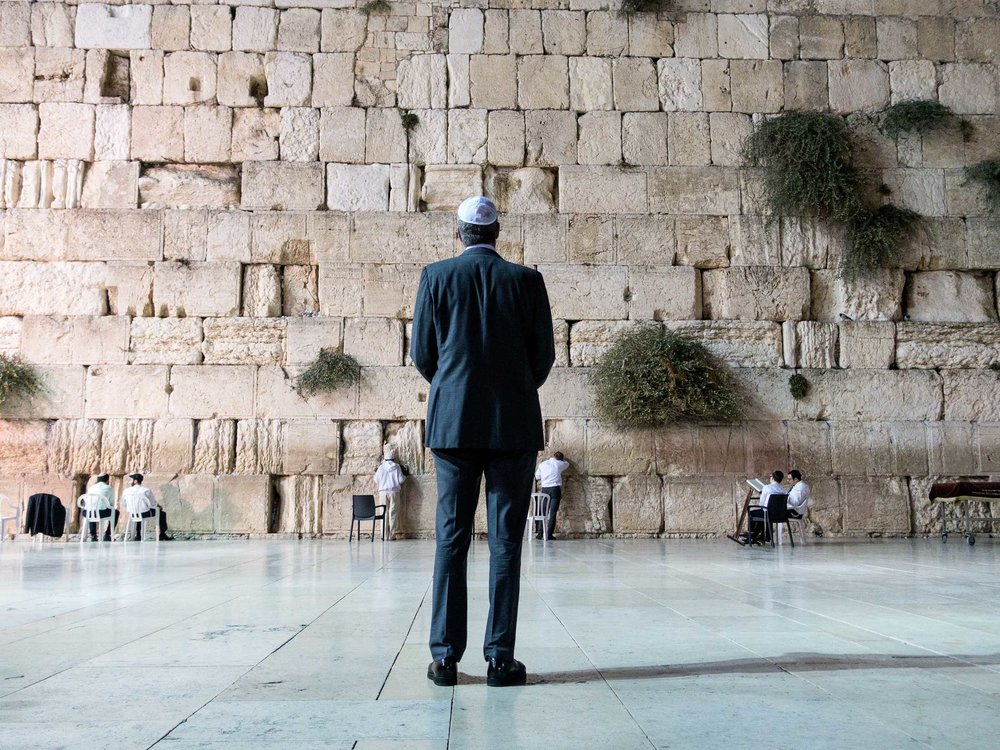Moment of silence at the Western Wall in Jeresulem, Israel.