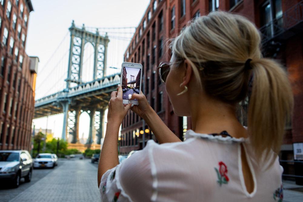 Laurie Ferraro and Manhattan Bridge. Dumbo. Brooklyn, New York. 2017
