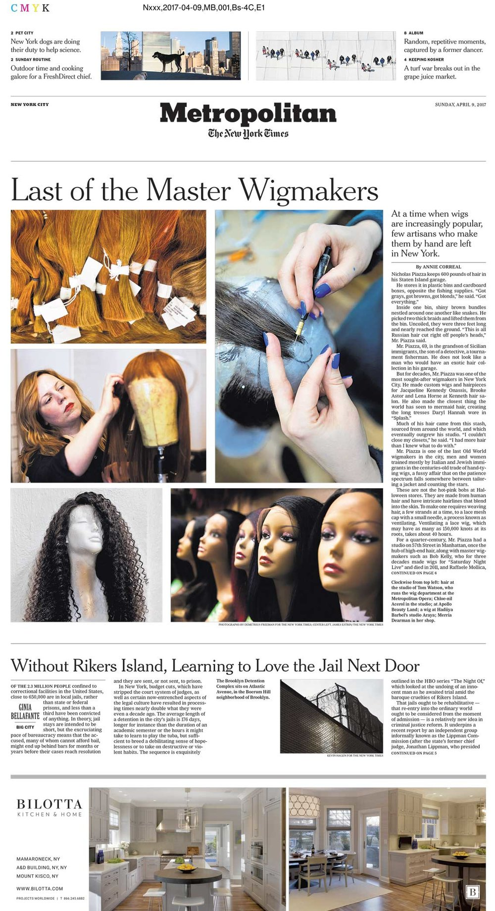 The New York Times Story:   Last of the Master Wigmakers