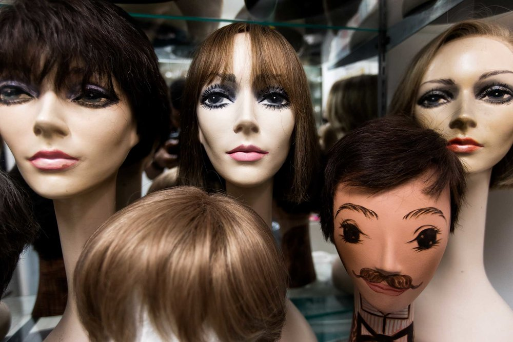 Wigs at Nicholas Piazza's studio in Manhattan.