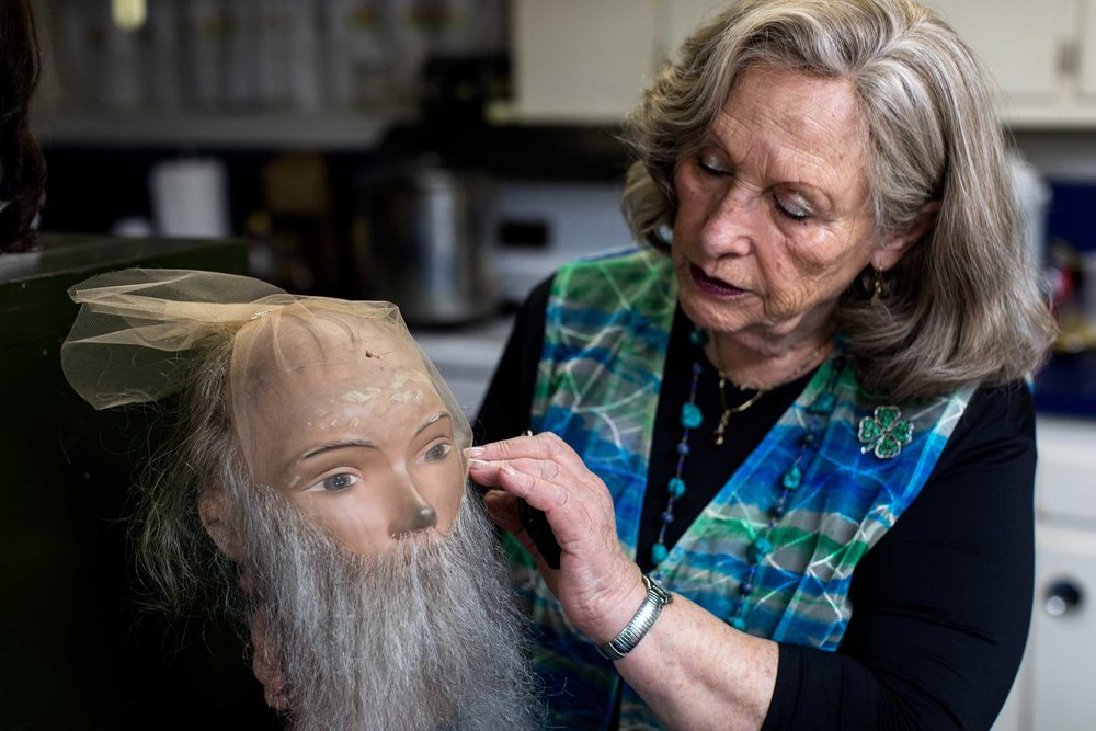 Claire Grunwald makes wigs and beards for the Orthodox Jewish community at her studio in Brooklyn.