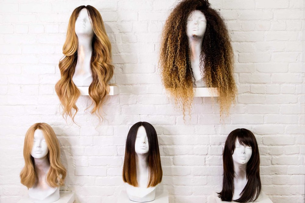 Wigs on display at Araya, Hadiiya Barbel's wig studio in Manhattan.