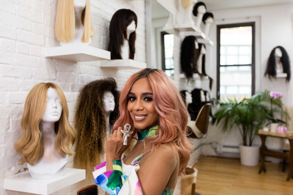 Hadiiya Barbel, a wig stylist, at Araya, her studio in Manhattan.