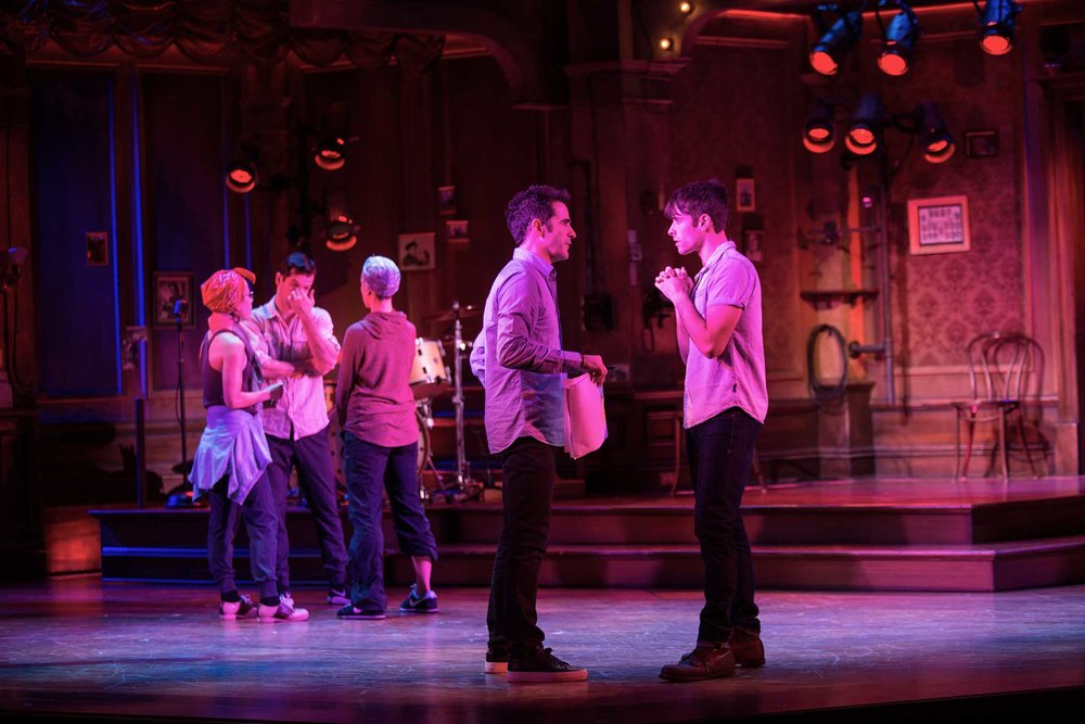 "Mr. Blankenbuehler, left, with the actor Corey Cott.  3:25 p.m. Mr. Blankenbuehler spent about six minutes chatting alone with Mr. Cott about a crucial scene early in ""Bandstand"" that pivots on two words Mr. Cott's character says. The words were cut about two weeks ago but were recently restored."