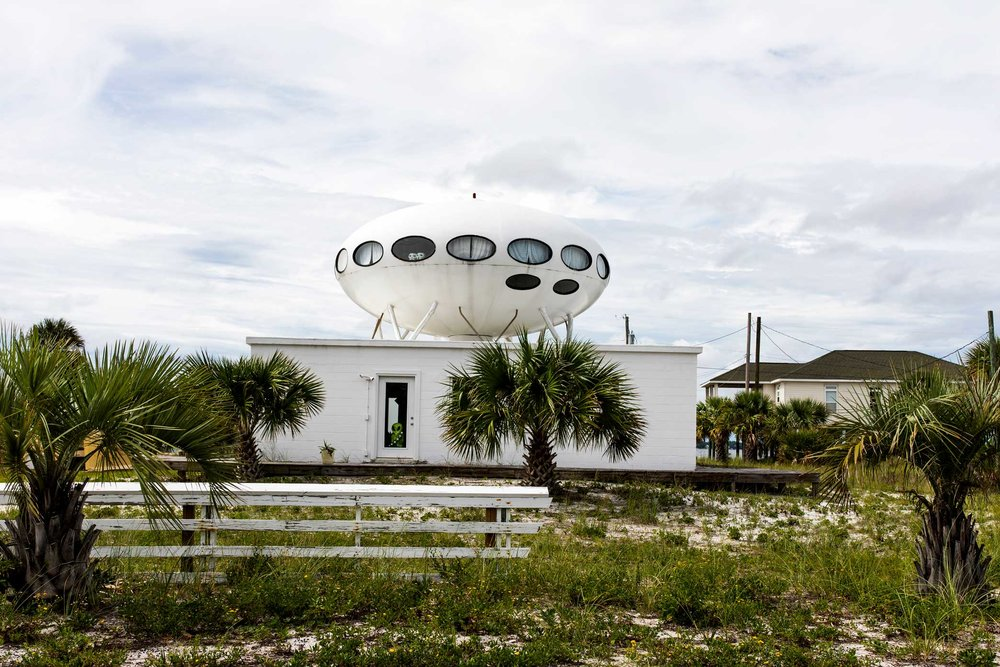The Futuro UFO Spaceship House in Pensacola, Florida. This is one of at least 64 spaceship houses, called Futuros. They are located everywhere from Los Angeles to Antarctica. Read more  here  and see a map of the locations  here .  Canon 5D Mark IV