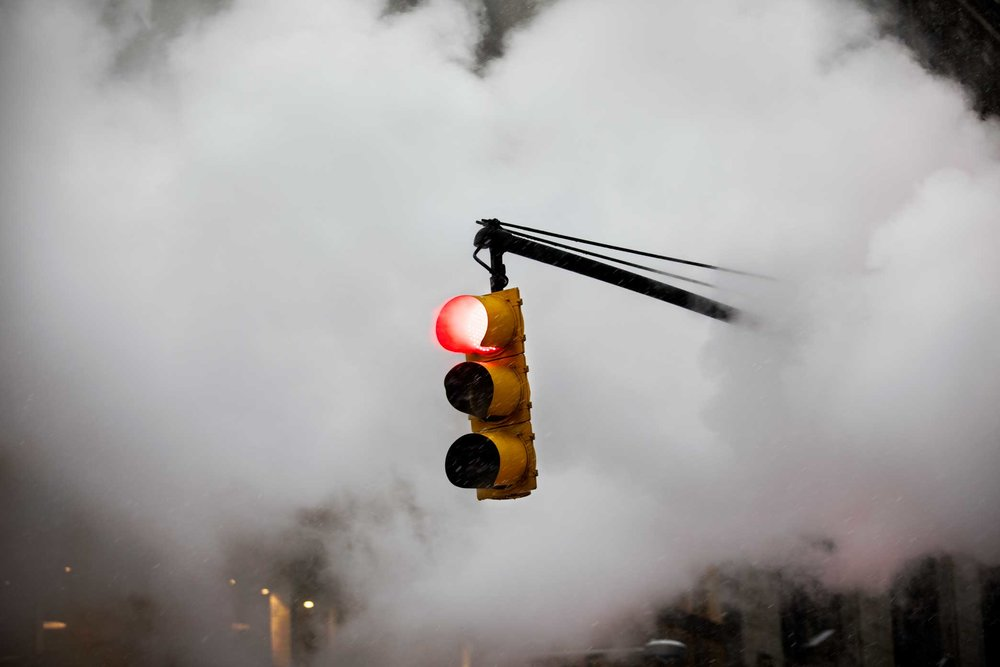 Stoplight and steam. Manhattan, New York. 2017