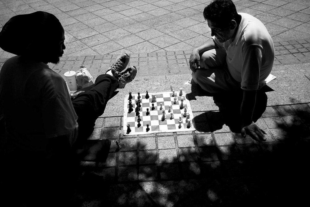 Mid chess match.