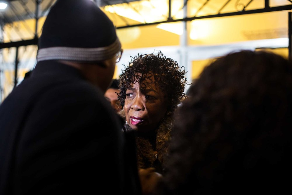 "Gwen Carr, the mother of Eric Garner, was pulled out of the church lobby during her granddaughter's funeral. The Rev. Al Sharpton blamed a ""family friction."""