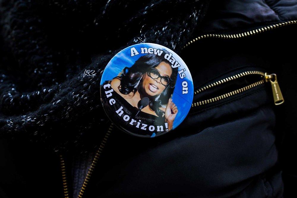 Oprah for president button.