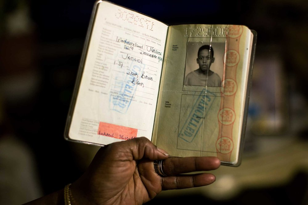 Saheed Vassell's Jamaican passport at his parents home in Crown Heights Brooklyn.