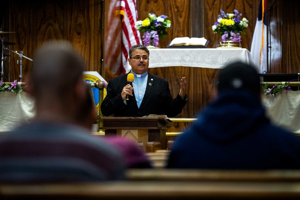 Reverend Getulio Cruz Jr., or Pastor Getty, preaches at the Monte Sion Christian Church in Manhattan's East Village.