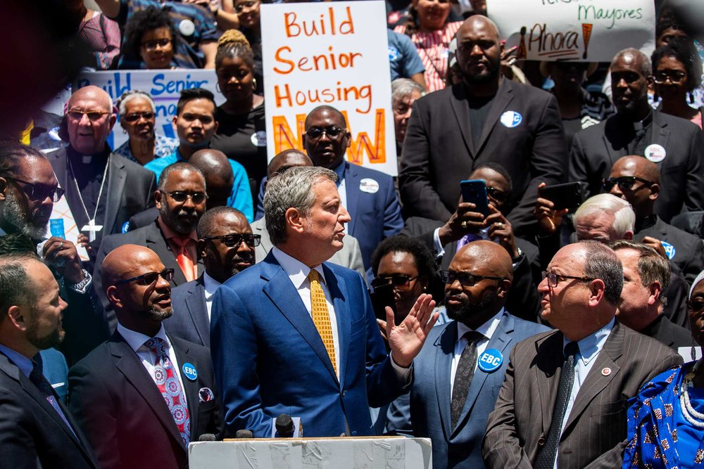 New York City Mayor Bill DeBlasio speak to Community members during a rally at New York's City Hall about senior housing and NYCHA repairs.
