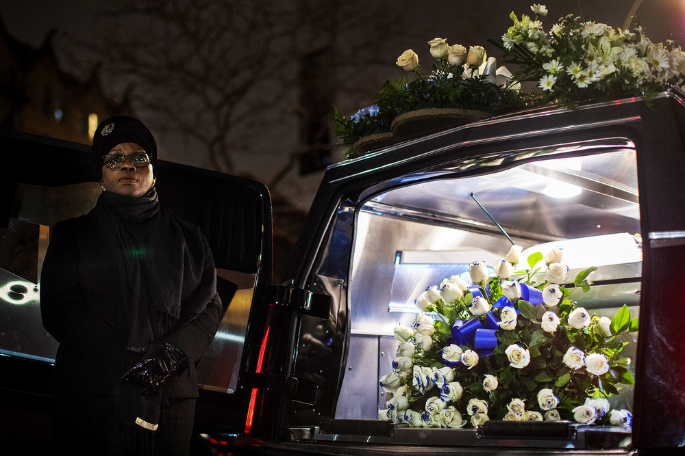 Erica Garner's coffin outside the First Corinthian Baptist Church in Harlem.
