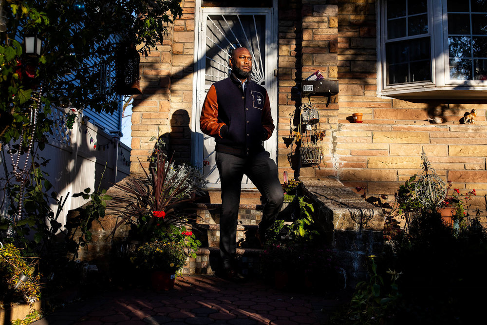 Mr. Bishop outside of his mother's home, in East Flatbush, Brooklyn.    New York Times Sunday Routine:  How Gregg Bishop, Small Business Expert, Spends His Sundays  The commissioner of the N.Y.C. Department of Small Business Services eats local, goes to his regular barber and attends church in an old auto repair shop.   Story can be found at The New York Times