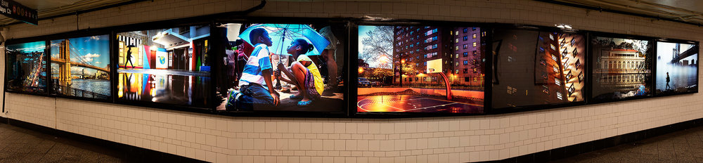 Panoramic. Photos are print on transparency film and are illuminated from within large scale lightboxes (approx. 45 X 66 inches).