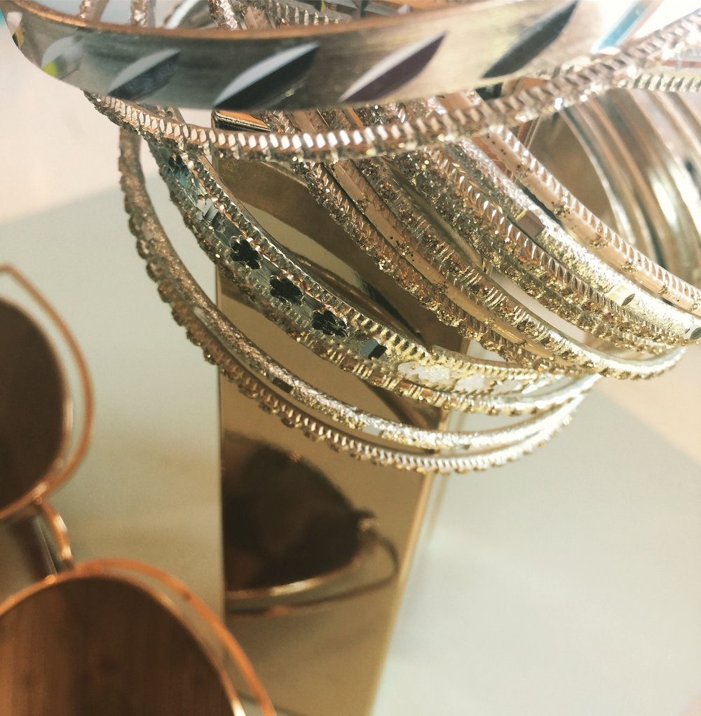 Bangles for days. And a sneak peek of a potential sunglass line.