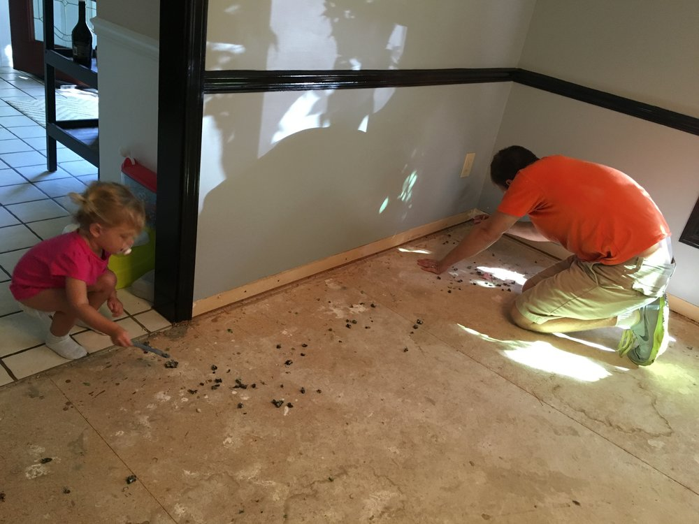 Removing approximately 4,000 staples from the subfloor where the carpet had been