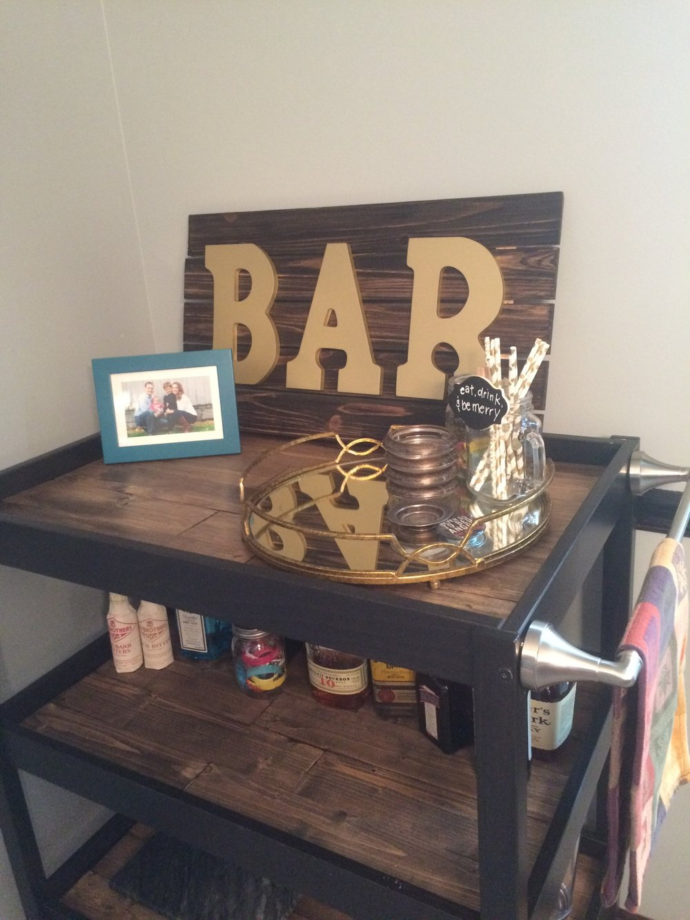 Newly finished bar cart!