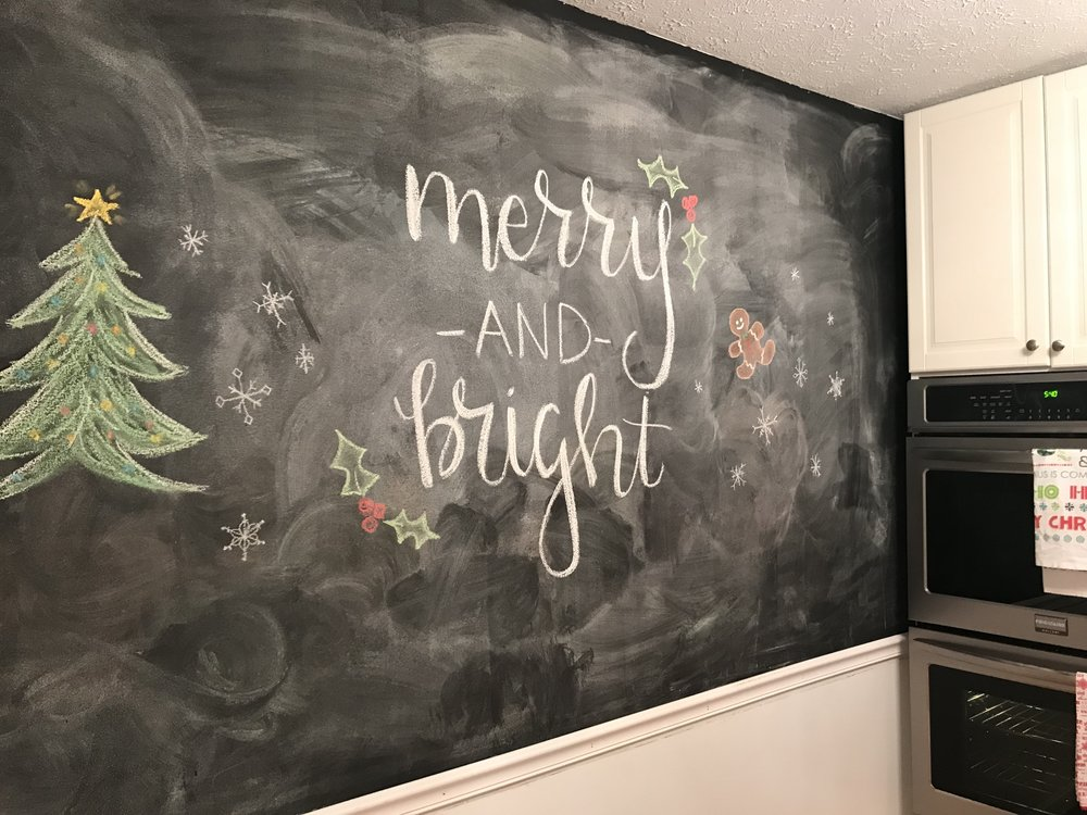 holiday chalk board wall
