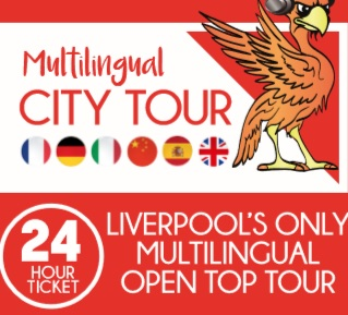 Multilingual City Tour Times - The Multilingual City Tour serves as a taxi service around Liverpool City Centre. Available in English, French, German, Spanish, Italian and Mandarin this will run every 30 minutes regardless of season. The first tour at 9.50am and the last at 3.50pm In the summer times and busier months, we will operate more buses to supply demand, leading this to be every 15 minutes at peak times.