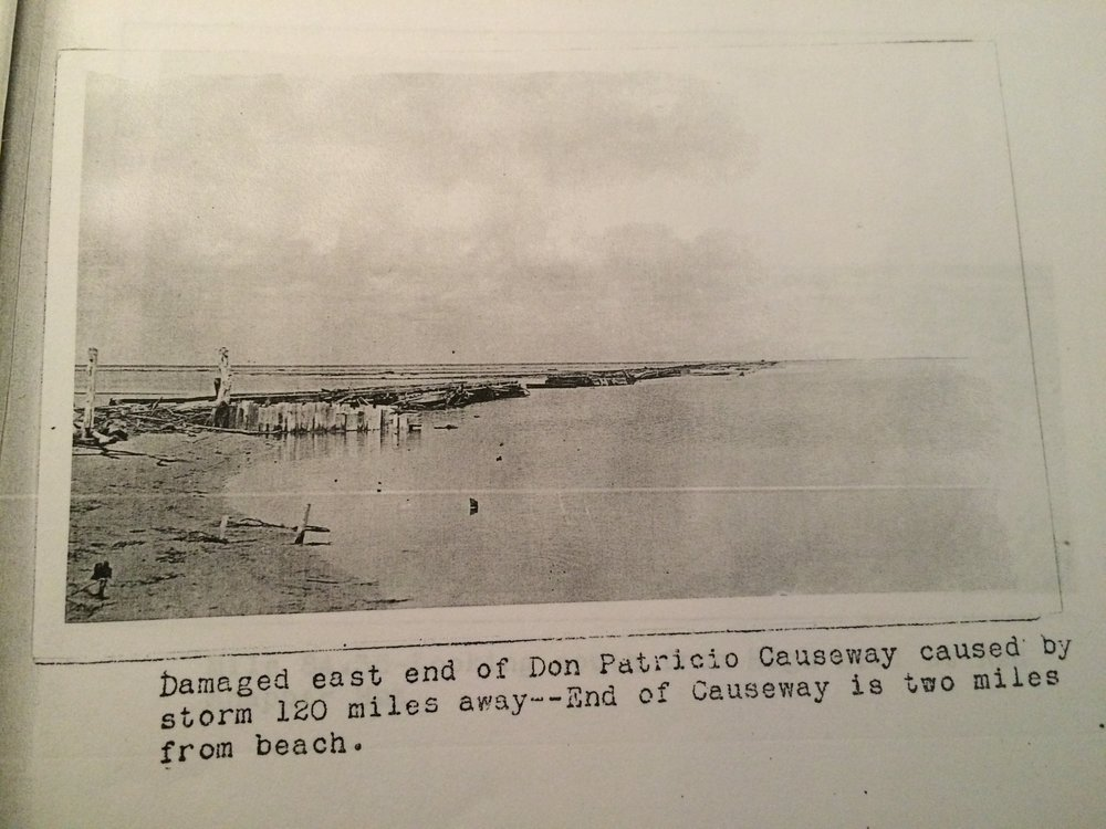 The hurricane of 1933 destroyed the Don Patricio Causeway.  It was never rebuilt.