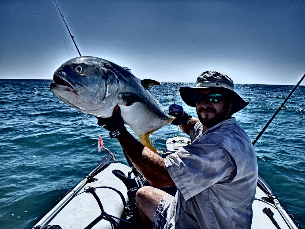 Using lures to troll for Jack Crevalle, August