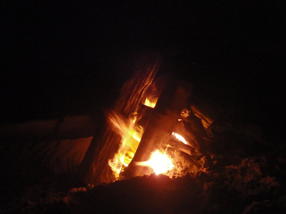 There's nothing like a nice warm fire at night on the beach.