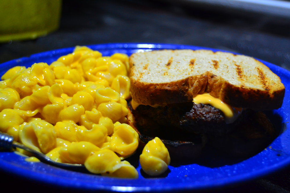 Sirloin burger and macaroni-n-cheese!
