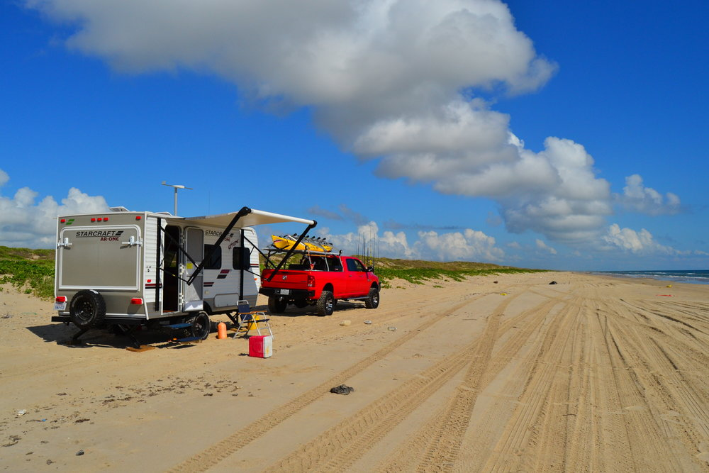 RV trout trip, bluefish, redfish, beginnings of red tide. - Padre Island National Seashore